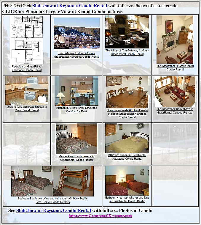 Rental Condo Slideshow at Keystone